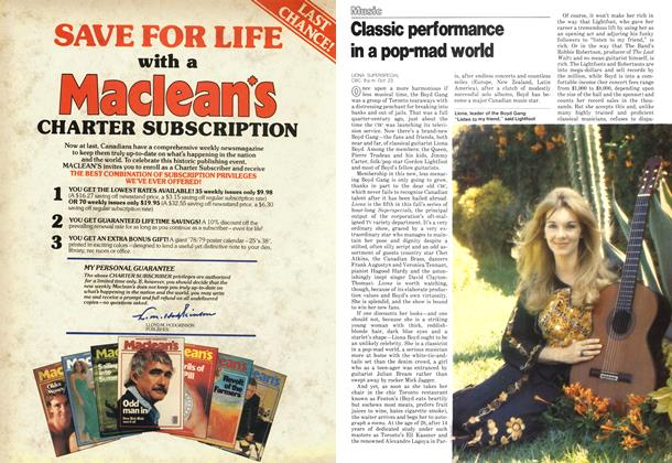 Article Preview: Classic performance in a pop-mad world, October 1978 | Maclean's