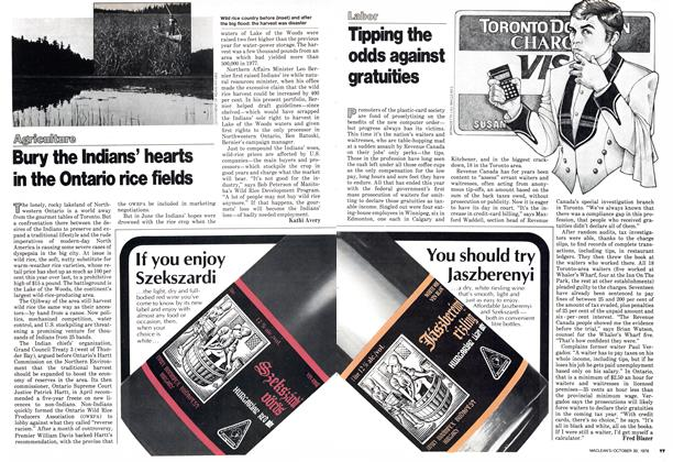 Article Preview: Tipping the odds against gratuities, October 1978 | Maclean's
