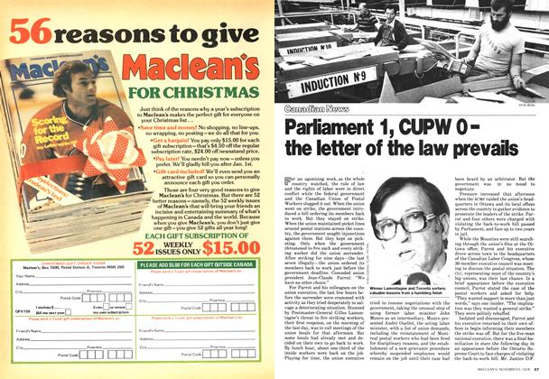 Article Preview: Parliament 1, CUPW 0-the letter of the law prevails, November 1978   Maclean's