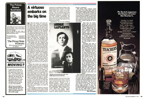 Article Preview: A virtuoso embarks on the big time, November 1978 | Maclean's