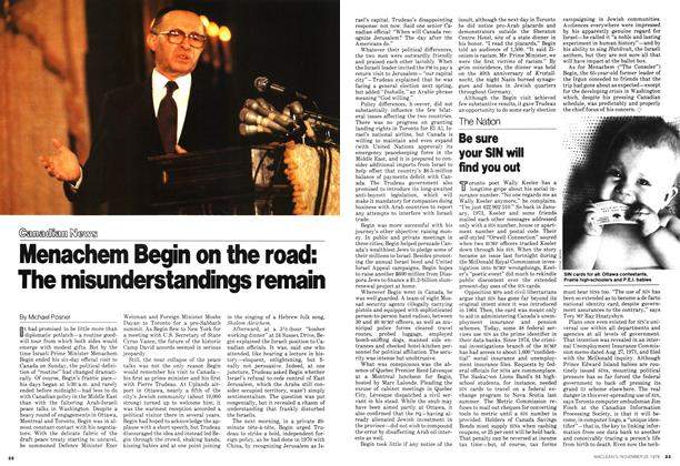 Article Preview: Menachem Begin on the road: The misunderstandings remain, November 1978 | Maclean's