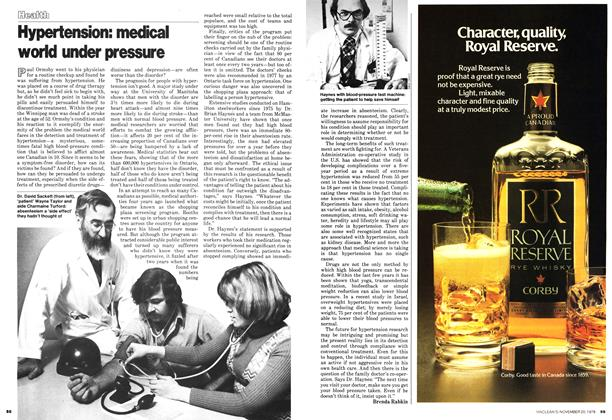 Article Preview: Hypertension: medical world under pressure, November 1978 | Maclean's