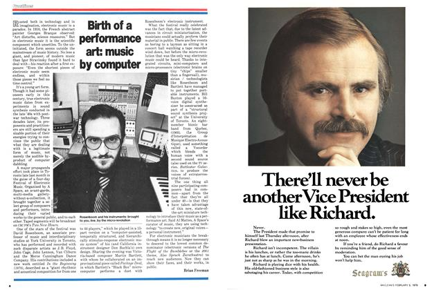 Article Preview: Birth of a performance art: music by computer, February 1979   Maclean's