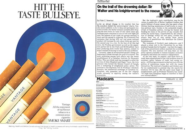 Article Preview: On the trail of the drowning dollar: Sir Walter and his knights-errant to the rescue, February 1979 | Maclean's