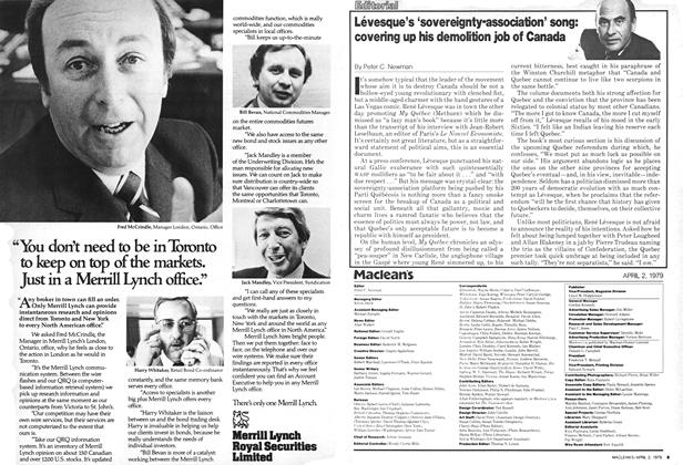 Article Preview: Levesque's 'sovereignty-association' song: covering up his demolition job of Canada, April 1979 | Maclean's
