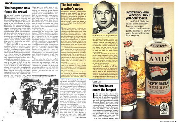 Article Preview: The hangman now faces the crowd, April 1979 | Maclean's