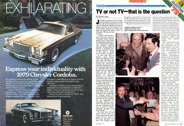 Article Preview: TV or not TV—that is the question, April 1979 | Maclean's