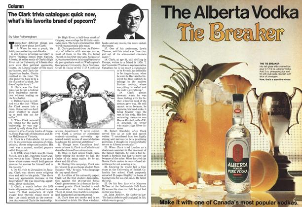 Article Preview: The Clark trivia catalogue: quick now, what's his favorite brand of popcorn?, May 1979 | Maclean's