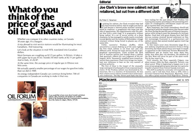 Article Preview: Joe Clark's brave new cabinet: not just retailored, but cut from a different cloth, June 1979 | Maclean's