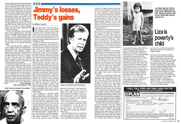 Article Preview: Jimmy's losses, Teddy's gains, August 1979 | Maclean's