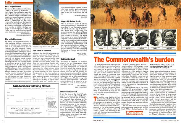 Article Preview: The Commonwealth's burden, August 1979 | Maclean's