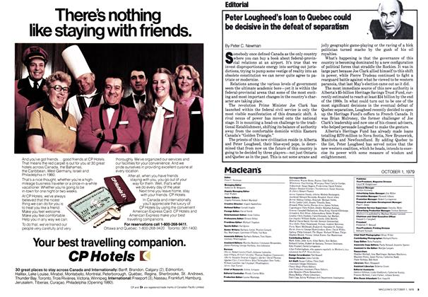 Article Preview: Peter Lougheed's loan to Quebec could be decisive in the defeat of separatism, October 1979 | Maclean's
