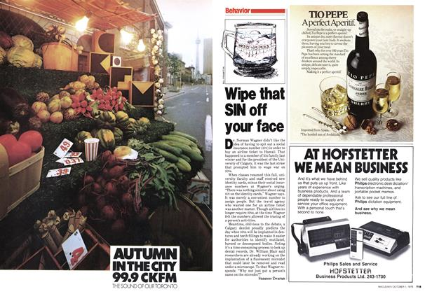 Article Preview: Wipe that SIN off your face, October 1979 | Maclean's