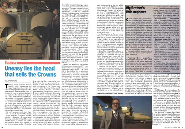 Article Preview: Uneasy lies the head that sells the Crowns, October 1979 | Maclean's