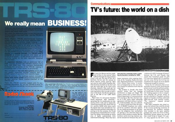 Article Preview: TV's future: the world on a dish, October 1979 | Maclean's