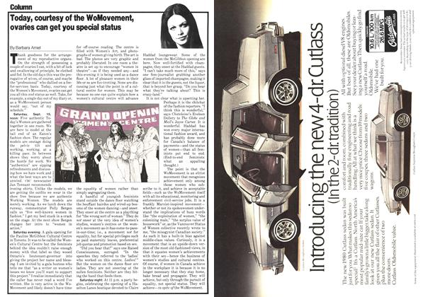 Article Preview: Today, courtesy of the WoMovement, ovaries can get you special status, October 1979 | Maclean's