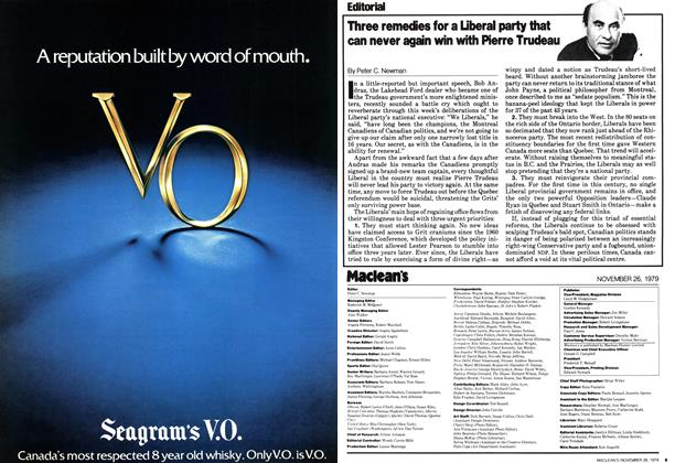 Article Preview: Three remedies for a Liberal party that can never again win with Pierre Trudeau, November 1979 | Maclean's