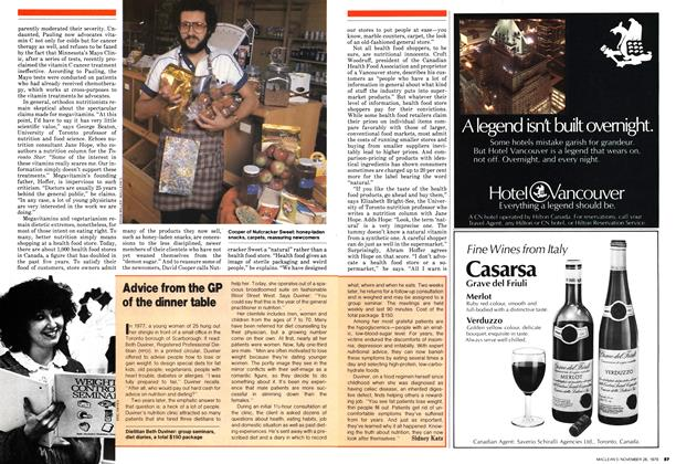 Article Preview: Advice from the GP of the dinner table, November 1979 | Maclean's