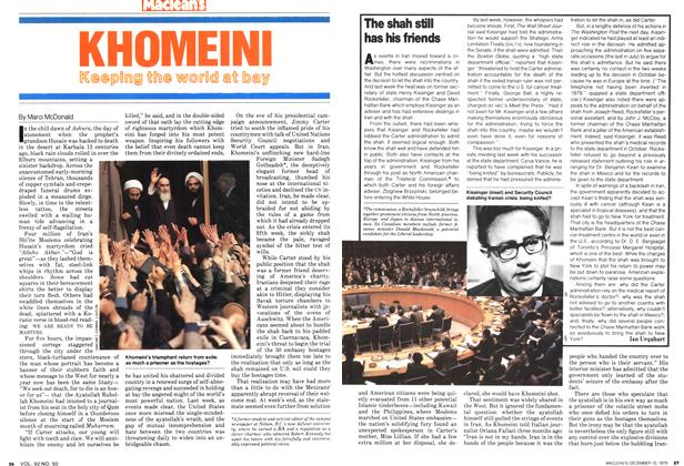 Article Preview: KHOMEINI Keeping the world at bay, December 1979 | Maclean's