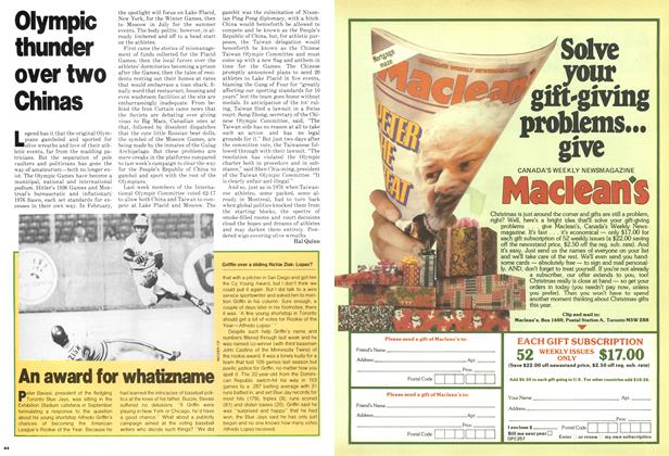 Article Preview: Olympic thunder over two Chinas, December 1979   Maclean's
