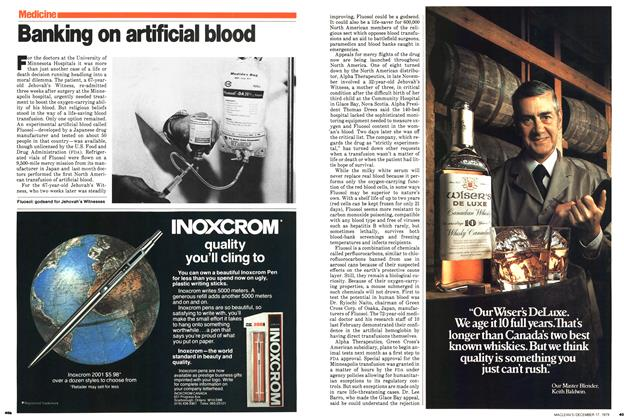 Article Preview: Banking on artificial blood, December 1979 | Maclean's