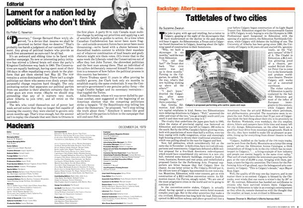 Article Preview: Tattletales of two cities, December 1979 | Maclean's