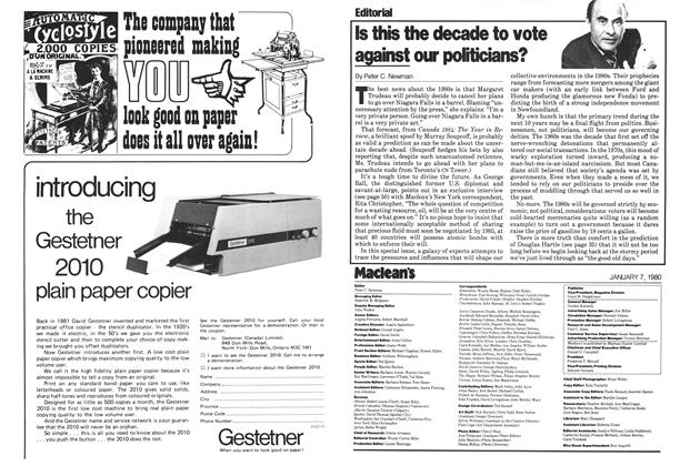 Article Preview: Is this the decade to vote against our politicians?, January 1980 | Maclean's