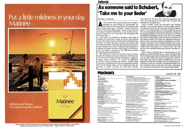 Article Preview: As someone said to Schubert, 'Take me to your lieder', January 1980 | Maclean's
