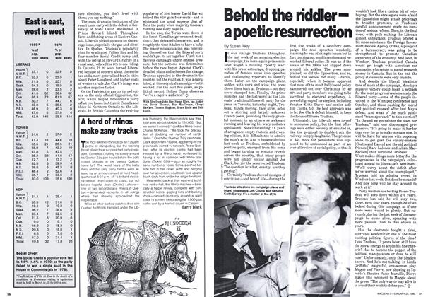 Article Preview: A herd of rhinos make zany tracks, February 1980 | Maclean's