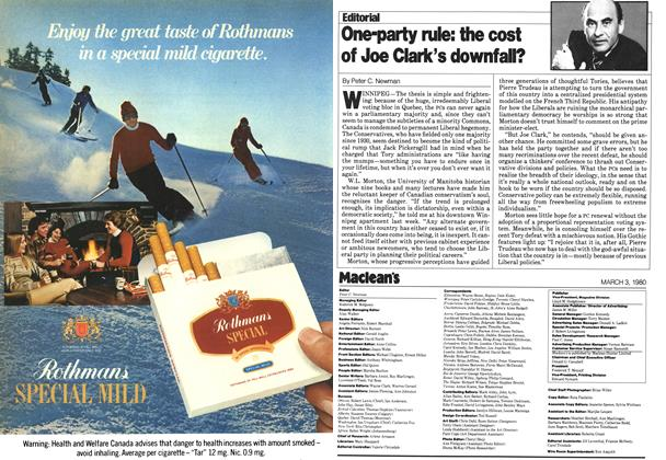 Article Preview: One-party rule: the cost of Joe Clark's downfall?, March 1980 | Maclean's