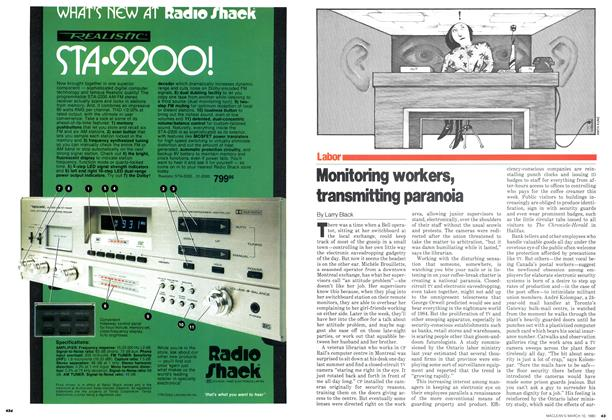 Article Preview: Monitoring workers, transmitting paranoia, March 1980 | Maclean's