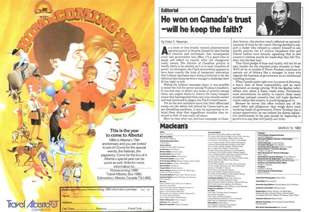 Article Preview: He won on Canada's trust -WILL he keep the faith?, March 1980 | Maclean's
