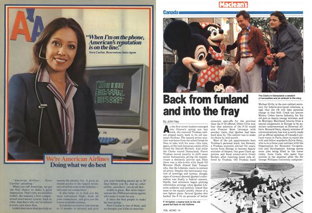 Article Preview: Back from funland and into the fray, April 1980 | Maclean's