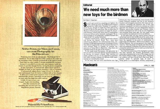 Article Preview: We need much more than new toys for the birdmen, April 1980 | Maclean's