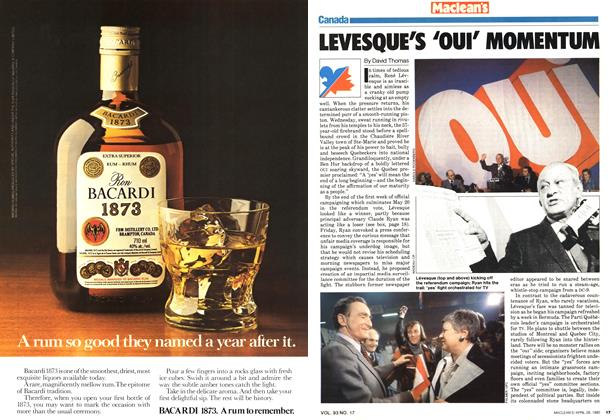 Article Preview: LEVESQUE'S 'OUI' MOMENTUM, April 1980 | Maclean's