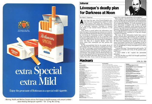 Article Preview: Lévesque's deadly plan for Darkness at Noon, April 1980 | Maclean's
