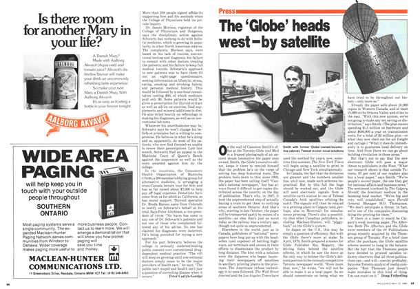 Article Preview: The 'Globe' heads west-by satellite, May 1980 | Maclean's
