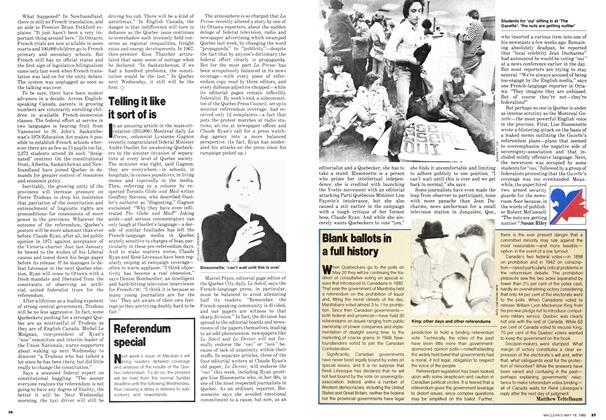 Article Preview: Telling it like it sort of is, May 1980 | Maclean's