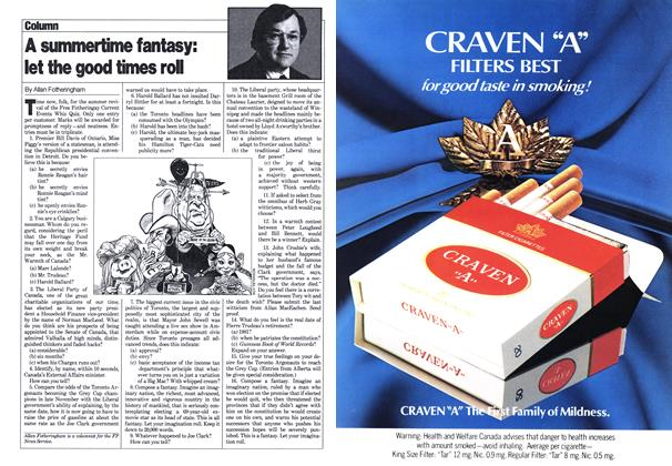 Article Preview: A summertime fantasy: let the good times roll, July 1980 | Maclean's