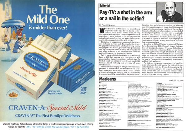 Article Preview: Pay-TV: a shot in the arm or a nail in the coffin?, August 1980 | Maclean's