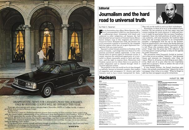 Article Preview: Journalism and the hard road to universal truth, August 1980 | Maclean's