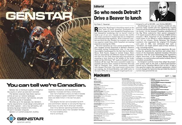 Article Preview: So who needs Detroit? Drive a Beaver to lunch, September 1980 | Maclean's