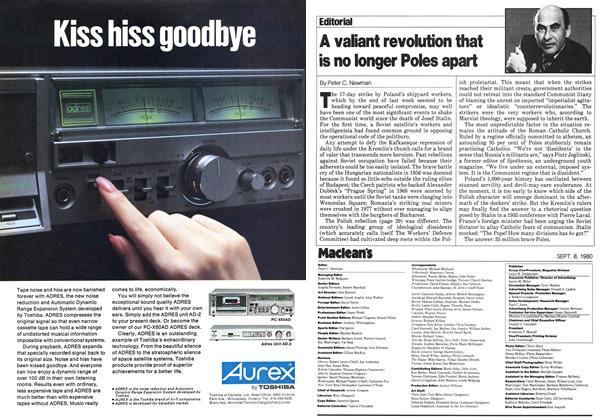 Article Preview: A valiant revolution that is no longer Poles apart, >SEPTEMBER 8, 1980 1980 | Maclean's