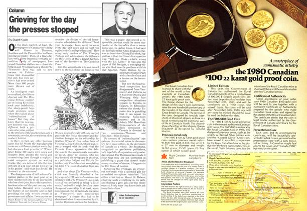 Article Preview: Grieving for the day the presses stopped, >SEPTEMBER 8, 1980 1980 | Maclean's