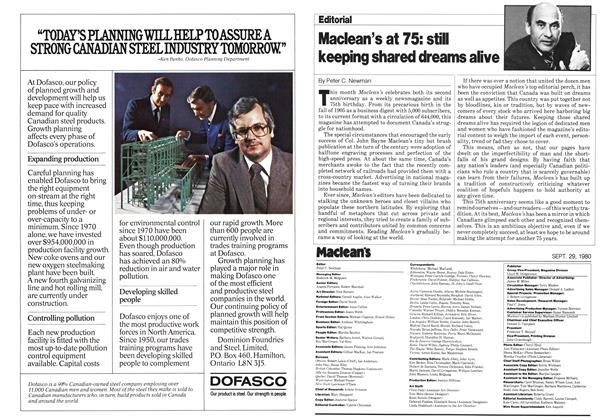 Article Preview: Maclean's at 75: still keeping shared dreams alive, September 1980 | Maclean's