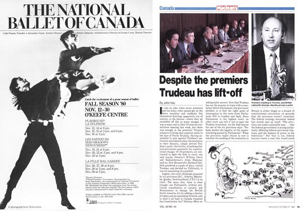 Article Preview: Despite the premiers Trudeau has lift-off, October 1980 | Maclean's