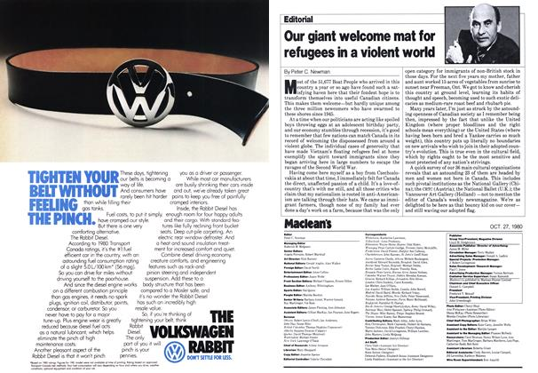 Article Preview: Our giant welcome mat for refugees in a violent world, October 1980 | Maclean's
