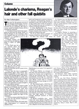 Article Preview: Lalonde's charisma, Reagan's hair and other fall quizbits, October 1980 | Maclean's