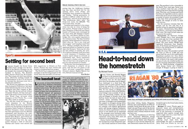 Article Preview: Head-to-head down the homestretch, November 1980 | Maclean's