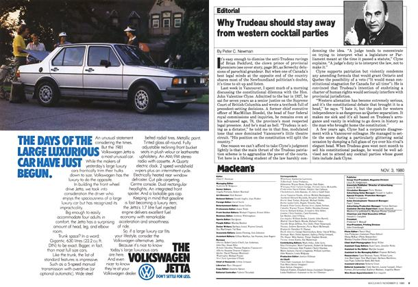 Article Preview: Why Trudeau should stay away from western cocktail parties, November 1980 | Maclean's